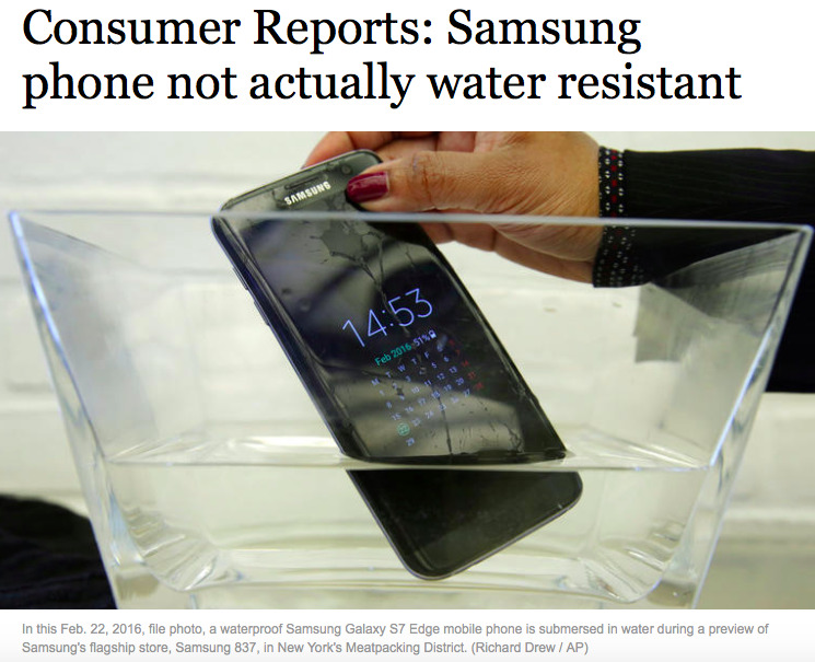 Samsung's high end Galaxy S7 fails Consumer Reports tests – WaterproofGate